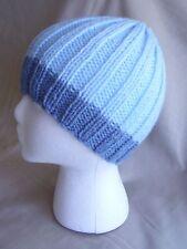 Handmade Knit Hat/Beanie - Light blue w/ grey-blue trim