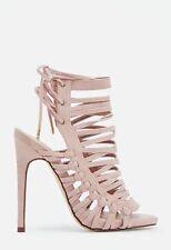 JustFab Andreja Womens UK 5 Blush Stiletto Heel Open Toe Faux Suede New Sandals