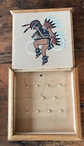 Sand Painting Wall Key Holder Box Navajo ?Native American Indian Hoop Dancer Art