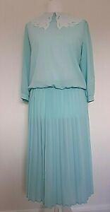 Vintage BHS Woman's Aqua Unlined Midi Tea Dress With Pleated Skirt - Size 14 uk