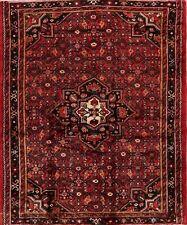 Vintage Geometric Hamedan Area Rug Traditional Hand-Knotted Oriental Carpet 6x7