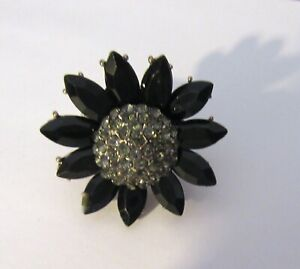 Fashion Ring stretch FLOWER SHAPE- sunflower- black- gray stones