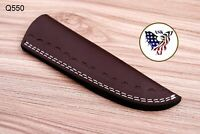 Double Stitch Custom Hand Made Pure Leather Sheath For Fixed Blade Knife - Q 550