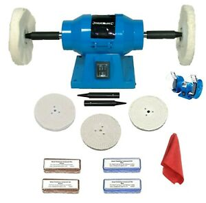 "150W 6"" Bench Grinder With Add-On Aluminium Metal Polishing Kit 5"" x 1/2"" Mops"