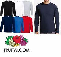 Liso Camiseta manga larga Fruit of the Loom Cuello Redondo Camiseta Top NUEVO