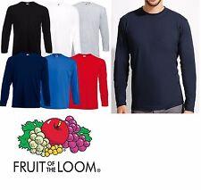 Plain T Shirt Long Sleeve FRUIT OF THE LOOM Crew Neck Tee Shirt Top NEW