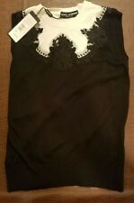 NWT Dolce & Gabbana Black & White Floral Sleeveless Top Shirt Size 44 $1325