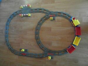 LEGO DUPLO EISENBAHN SCHIENEN WEICHEN RICHTUNGSWECHSLER LOK WAGGOS BAHNÜBERGANG