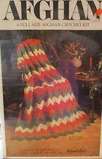 Vintage Wonderart Crochet Afghan Kit Ripple Orange Mustard Olive Green White Mib