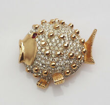 Fun whimsical vintage puff fish with crystals pin brooch by Kenneth Lane KJL
