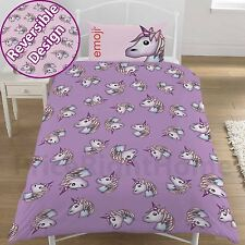 EMOJI UNICORN SINGLE DUVET COVER SET NEW REVERSIBLE