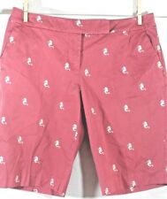 TALBOTS Petite 4P Salmon PINK Seahorse Embroidered Stretch Bermuda COTTON Shorts