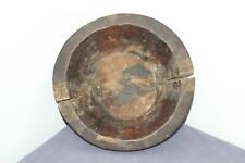 Antique primitive hand carved round wooden dough bowl cup mortar . Dark patina .