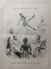 c1843 SANCHO PANZA TOSSED IN A BLANKET - Don Quixote - Punch Satirical Cartoon
