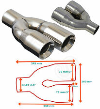 "UNIVERSAL STAINLESS STEEL EXHAUST TAILPIPE PAIR 2.5"" YFX-0225-SP3–Smart"