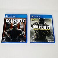 Call Of Duty Black Ops 3 III & Infinite Warfare (Playstation 4) PS4 Lot of 2