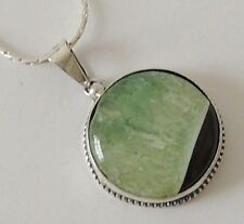 925 STERLING SILVER CHUNKY ROUND CABOCHON GREEN FLOURITE PENDANT