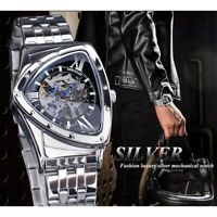 DUNCOUGAR Herren Armbanduhr Luxus Edelstahl Skelett Uhr Mechanisch Handaufzug