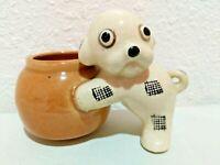 Vintage Ceramic Patchwork Dog Mini Planter Japan