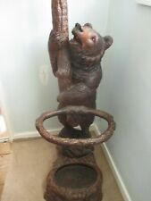 More details for antique large 6ft black forest bear hall stand swiss wooden carved