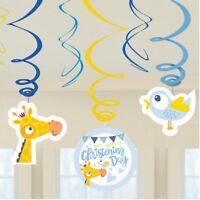 6 Christening Giraffe Swirls Decoration Boys Religious Party Blue Hanging Decor