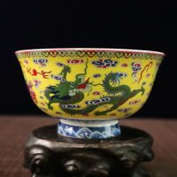 Chinese old porcelain Pastel Panlong Painting bowl Chinese meal bowl