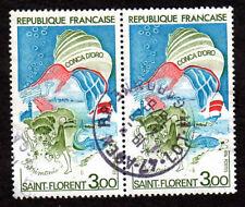 TIMBRES 1974 SANT FLORENT ATTACHÉS PAR 2 OBLITÉRÉS CACHET ROND