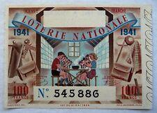 ANCIEN BILLET DE LOTERIE NATIONALE 1941 / 26e TRANCHE / R. BOUVARD