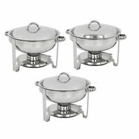 3 PACK CATERING STAINLESS STEEL CHAFER CHAFING DISH SETS 5 QT PARTY PACK