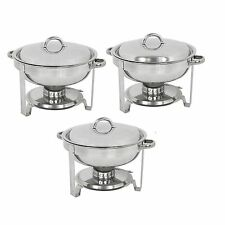 3 Pack Round Chafing Dish Stainless Steel Full Size Tray Buffet Catering 5 Quart