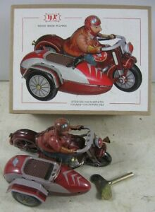 """Tin Wind-Up NE Motorcycle With Side Car New in Box 8"""" tall"""