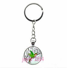 Vintage hummingbird Cabochon Tibetan silver Glass Chain Pendant Key Ring #YN-1