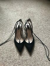 Topshop Black Real Leather Court Shoe - Kitten Heel Lace Up NEVER WORN!! RRP £62