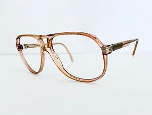 Gucci Clear Lucite Tan Oversized Aviator Nerd Glasses Italy GG1100 63 15 140