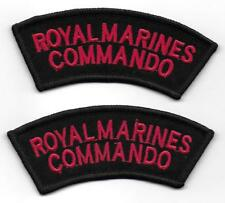 2 NEW Royal Marines Commando Red and Black Shoulder Flashes / Titles