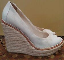 GUCCI White Monogrammed Canvas Kerr Platform Wedge Heels Size 39.5