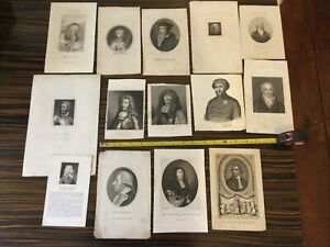 Antique Prints Job lot portraits engraving print Antique Historical Figures Male