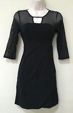 Guess LosAngeles Womens Black Lace Sheer BodyCon Mini Dress Small 2 3 4 (094)