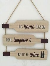 Home Love Laughter Wine Sign Wooden Plaque Shabby Chic Wall Door Home Friends