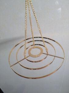 1Pcs 3-Tiered Golden Round Hanger Centerpiece Chandelier Wedding Christmas Party