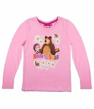 Girls Kids Official Licensed Disney Various Character Long Sleeve T Shirt Top Masha and The Bear #4 4 - 5 Years