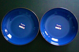 SET 2 DENBY IMPERIAL BLUE WITH BROWN TRIM PASTA BOWLS COBALT BLUE