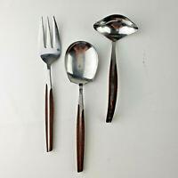 Vintage Eldan Brown Stainless Steel Flatware Silverware Lot of 3 Serving Pieces