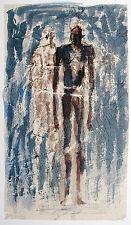 Gerhard Elsner 1930 Senftenberg-2017: Zwei Figuren auf Blau, Aquarell 1995