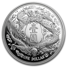 Long-Whiskered Dragon Dollar Restrike China 1 oz Silber Premium Unc. 2019