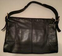 Vintage HOBO international rectangular black Leather Shoulder Bag EUC