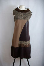 P451/61 Viccio Barcelona Brown Patchwork Boat Neck Sleeveless Dress UK16/18