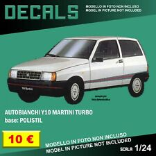 DECALS repro Autobianchi Y10 Turbo Martini Polistil 1/25 25 1/24 1 24 decal