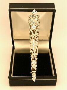Silver Vintage Ornate Flower Holder Groom Formal Tussie Mussie Brooch Pin