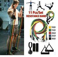 11Pcs Set Resistance Bands Workout Exercise Yoga Fitness Training Tubes Home Gym